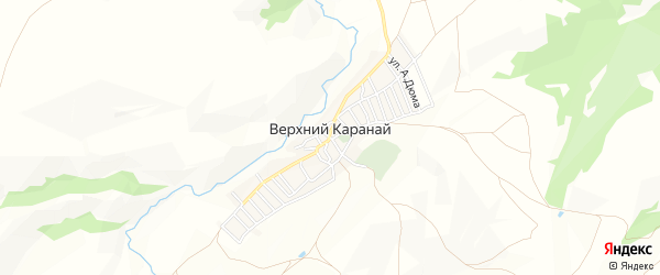 Карта села Верхнего Караная в Дагестане с улицами и номерами домов