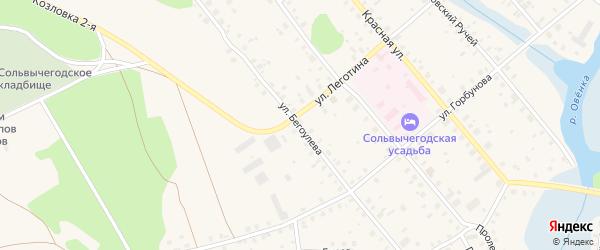 Улица Бегоулева на карте Сольвычегодска с номерами домов