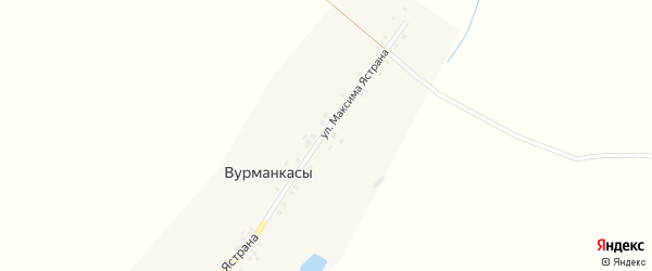 Улица М.Ястрана на карте деревни Вурманкасы с номерами домов