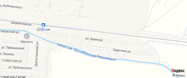 Улица Шамиля на карте Комсомольского села с номерами домов