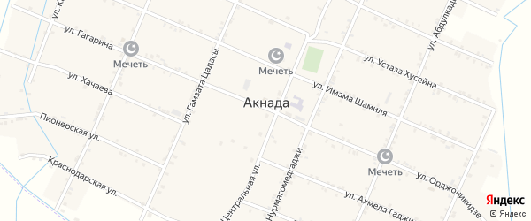 Улица А.Гаджиева на карте села Акнады с номерами домов