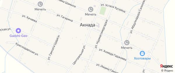 Центральная улица на карте села Акнады с номерами домов