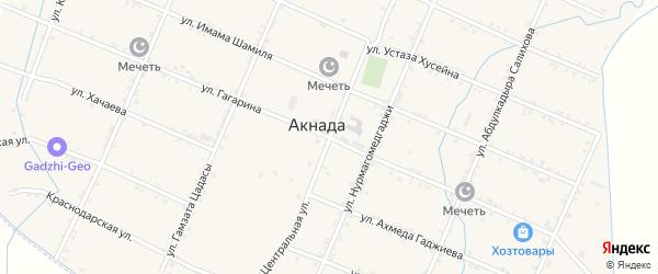 Улица Орджоникидзе на карте села Акнады с номерами домов
