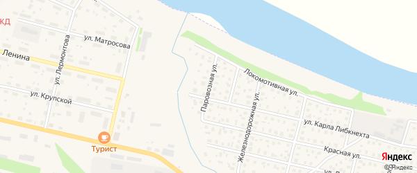 Паровозная улица на карте Вычегодского поселка с номерами домов