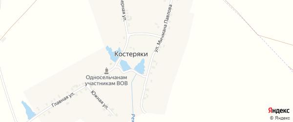Улица Мичмана Павлова на карте деревни Костеряки с номерами домов