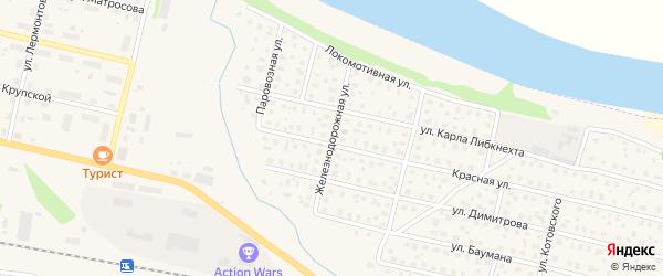 Железнодорожная улица на карте Вычегодского поселка с номерами домов