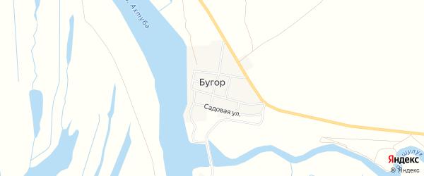 Карта поселка Бугра в Астраханской области с улицами и номерами домов