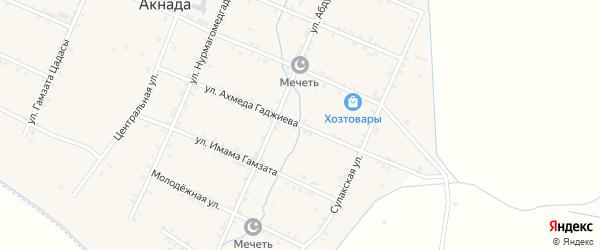 Улица Мустафы Гаджиева на карте села Акнады с номерами домов