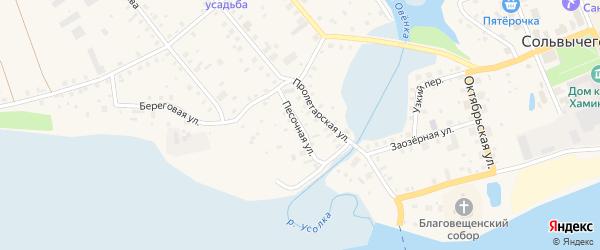 Песочная улица на карте Сольвычегодска с номерами домов