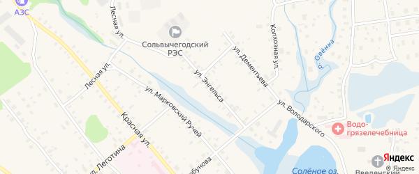 Улица Энгельса на карте Сольвычегодска с номерами домов