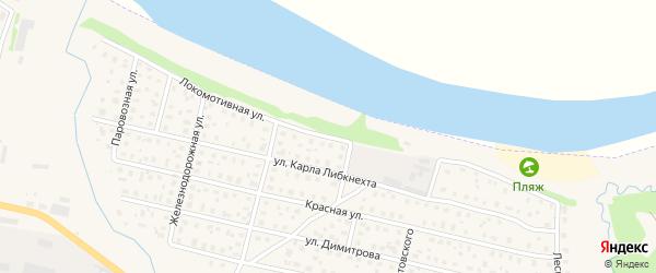 Локомотивная улица на карте Вычегодского поселка с номерами домов