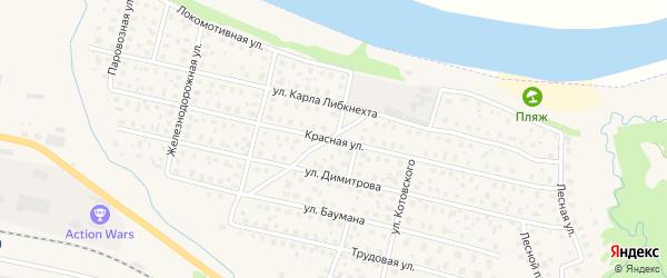 Красная улица на карте Вычегодского поселка с номерами домов
