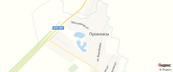 Карта деревни Пуканкасов в Чувашии с улицами и номерами домов