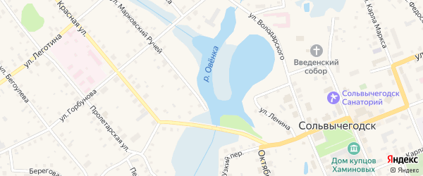 Улица Набережная имени Аники Строганова на карте Сольвычегодска с номерами домов