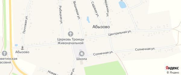 Центральная улица на карте села Абызово с номерами домов