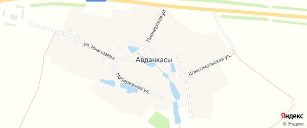 Набережная улица на карте деревни Авданкасы с номерами домов