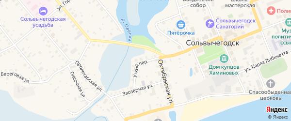 Узкий переулок на карте Сольвычегодска с номерами домов