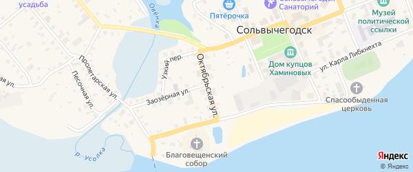 Октябрьская улица на карте Сольвычегодска с номерами домов