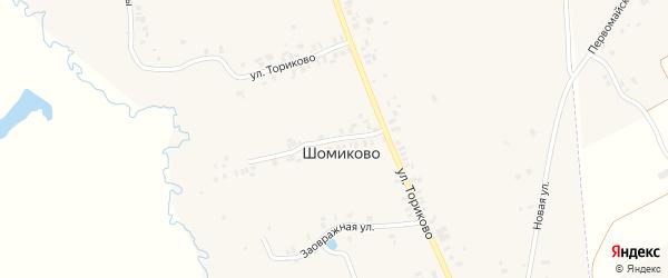 Улица Ториково на карте деревни Шомиково с номерами домов