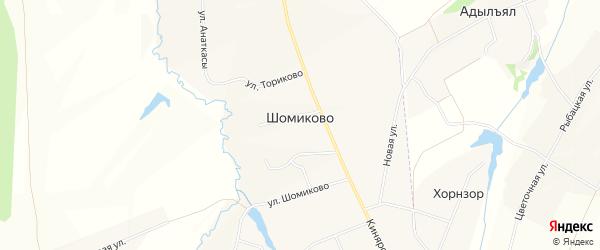СТ Маяк на карте деревни Шомиково с номерами домов