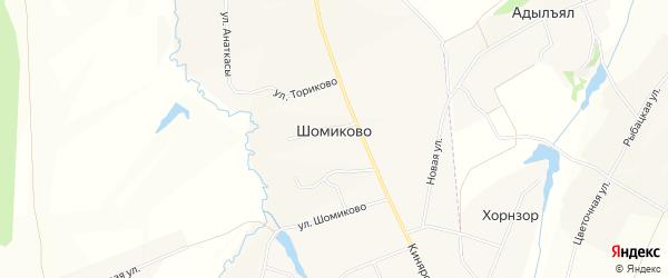 Карта деревни Шомиково в Чувашии с улицами и номерами домов