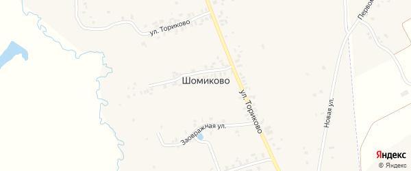 Заовражная улица на карте деревни Шомиково с номерами домов