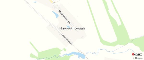 Магазинная улица на карте деревни Нижнего Томлая с номерами домов