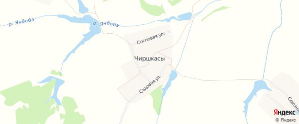 Карта деревни Чиришкас в Чувашии с улицами и номерами домов