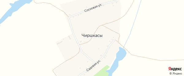 Сосновая улица на карте деревни Чиришкас с номерами домов