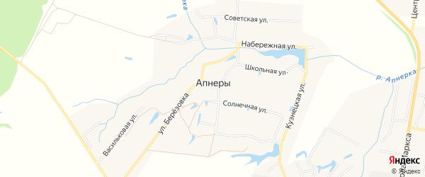 Карта деревни Апнер в Чувашии с улицами и номерами домов