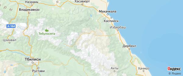 Карта Гунибского района республики Дагестан с городами и населенными пунктами