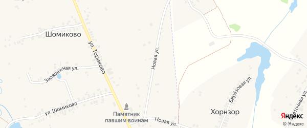 Новая улица на карте деревни Шомиково с номерами домов