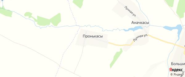 Карта деревни Пронькас в Чувашии с улицами и номерами домов