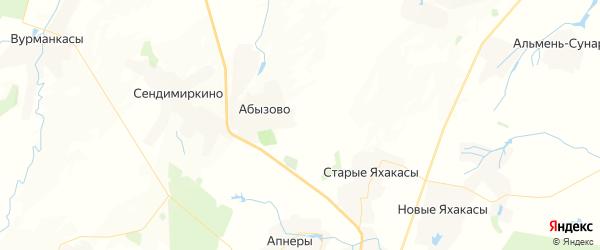 Карта Шинерского сельского поселения республики Чувашия с районами, улицами и номерами домов