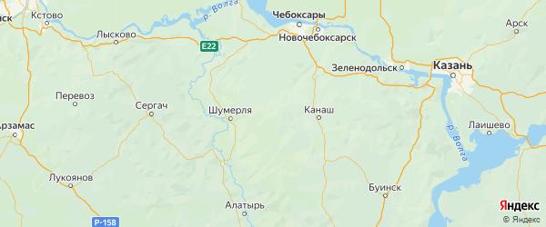 Карта Вурнарского района республики Чувашия с городами и населенными пунктами