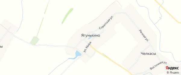 Карта деревни Ягунькино в Чувашии с улицами и номерами домов