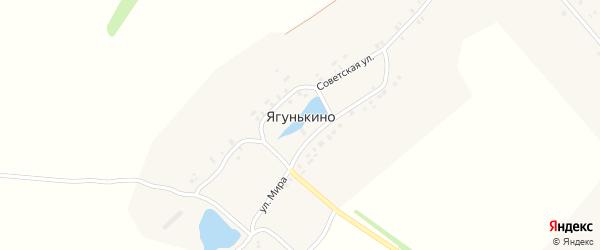 Советская улица на карте деревни Ягунькино с номерами домов