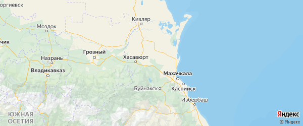 Карта Кизилюртовского района республики Дагестан с городами и населенными пунктами
