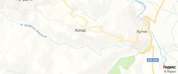 Карта хутора Хопора в Дагестане с улицами и номерами домов
