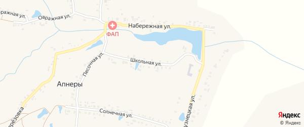 Школьная улица на карте деревни Апнер с номерами домов
