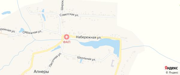 Набережная улица на карте деревни Апнер с номерами домов