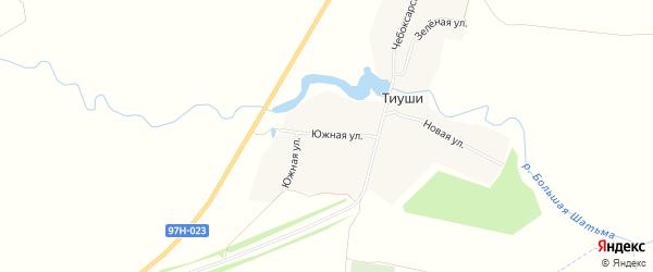 Карта деревни Тиуш в Чувашии с улицами и номерами домов