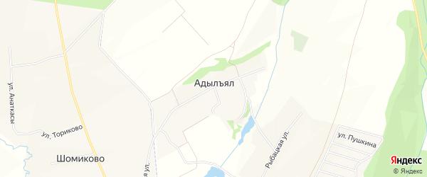 Карта деревни Адылъяла в Чувашии с улицами и номерами домов