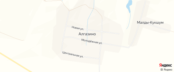 Карта деревни Алгазино в Чувашии с улицами и номерами домов