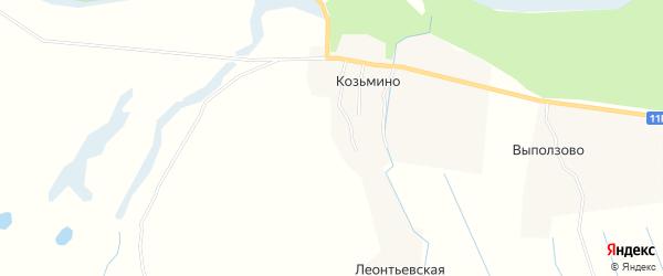 Карта деревни Козьмино в Архангельской области с улицами и номерами домов