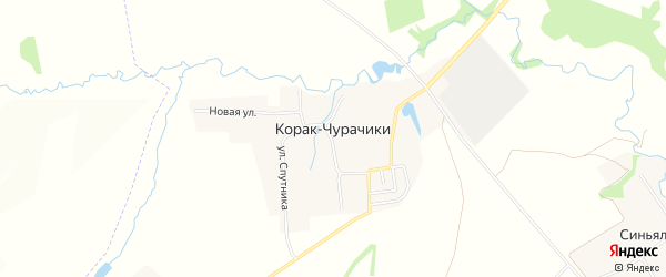 Карта деревни Корака-Чурачики в Чувашии с улицами и номерами домов