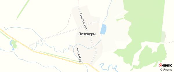 Карта деревни Пизенеры в Чувашии с улицами и номерами домов