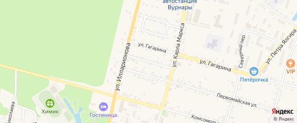 Октябрьский переулок на карте поселка Вурнары с номерами домов