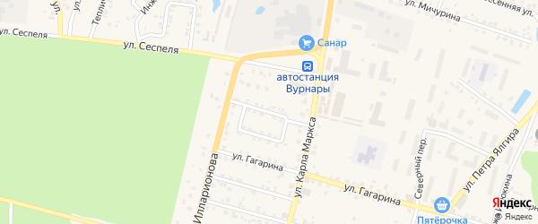 Переулок К.Маркса на карте поселка Вурнары с номерами домов