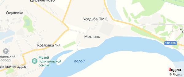 Карта деревни Метлино города Сольвычегодска в Архангельской области с улицами и номерами домов